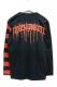 RIP DESIGN WORXX 2TONE ボーダー LONG T-shirt ブラック×赤黒ボーダー袖
